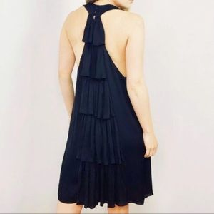 Alice + Olivia Silk Black Ruffle Dress NWT